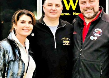 Photo Credit – Lawrence County Commissioners Facebook page County Commissioners DeAnna Holliday and Freddie Hayes, and Lawrence Township Trustee Larry Pernestti celebrate the loading for transport of over 850 turkeys for struggling families in Lawrence County