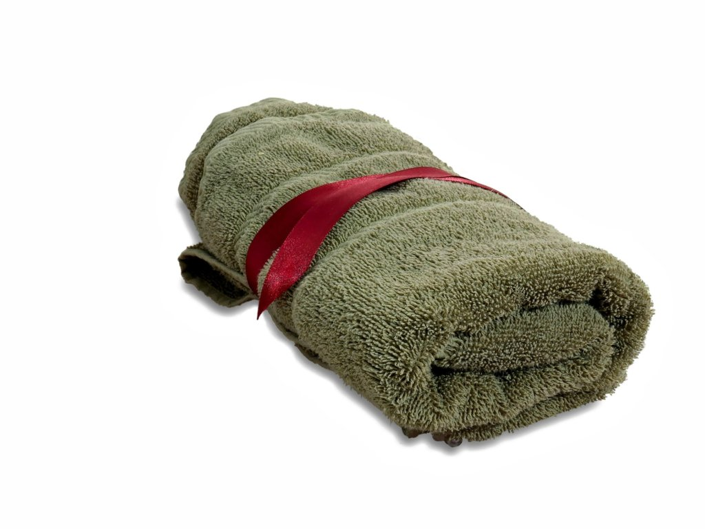 rolled towel for yoga